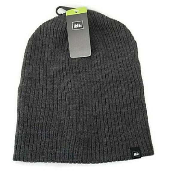 20281424872 REI Men s Reversable Rib Knit Beanie Charcoal NWT